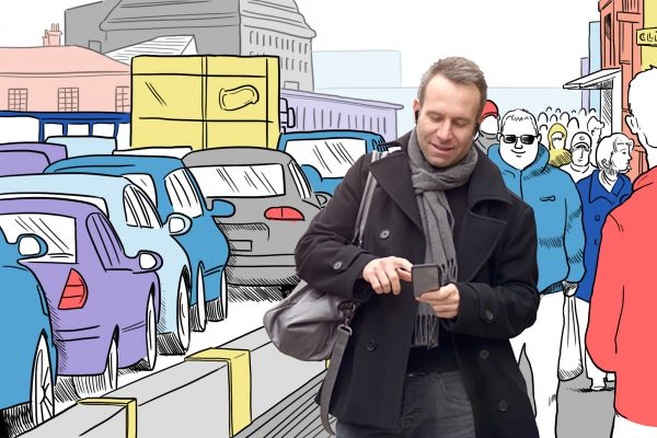 man walking down the street in cartoon traffic using mobile phone and hearing aid
