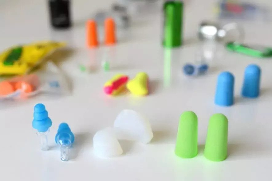A picture of a bunch of different types of Earplugs.